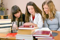 Three Girls Learning Together Stock Photo