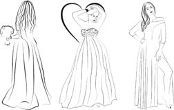Three girls in long dresses royalty free illustration