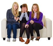 Three girls look a horror movie Royalty Free Stock Images
