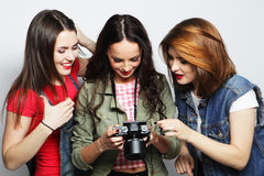 three girls looking at camera Stock Image