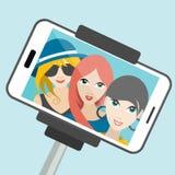 Three girls making summer selfie photo. Royalty Free Stock Photos