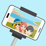Three girls making summer selfie photo. Royalty Free Stock Photo