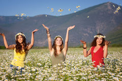 Three girls on the meadow Royalty Free Stock Images