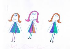 Three girls in multicolored different dresses. Child drawing royalty free illustration