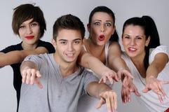Three girls and one boy Stock Image
