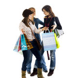 Three girls out shopping. Stock Photo