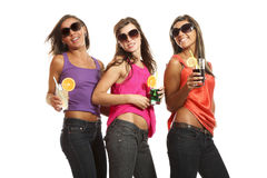 Three girls at a party Royalty Free Stock Image