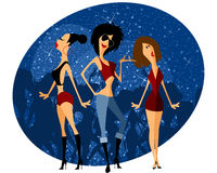 Three girls on party Royalty Free Stock Images