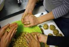 Preparing homemade dumplings stock photos