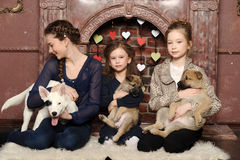 Three girls with puppies Stock Images