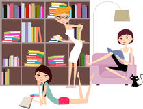 Three girls reading books Royalty Free Stock Photos