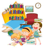 Three girls reading books together Stock Photography
