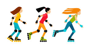 Three girls roller-skating. Roller-skating women. Sport characters in flat style.  on white background Stock Images