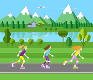 Three girls rollerblading. Flat landscape illustration. Forest and mountains. Blue sky and plane Royalty Free Stock Photo