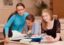 Three girls schoolgirl Royalty Free Stock Photography