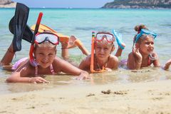 Three girls in the sea Royalty Free Stock Photography