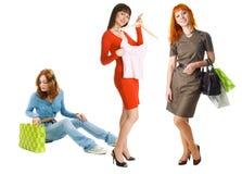 Three girls shopping Stock Photos