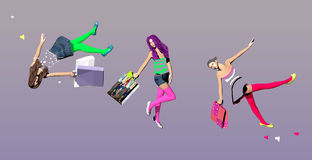 Three girls with shopping bags in mid air. Three girls with shopping bags, floating in mid air, over a purple background, 3D illustration, raster illustration Stock Photo