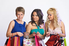 Three girls  after shopping Royalty Free Stock Photos