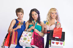Three girls  after shopping Royalty Free Stock Images