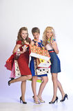 Three girls  after shopping Royalty Free Stock Photography