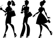 Three girls silhouette Stock Photos