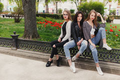 Three girls sit on the park background royalty free stock photo