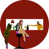 Three girls in the STOP BARE. vector illustration
