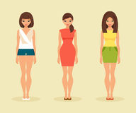 Three girls in summer clothes. Vector illustration Stock Photography