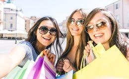 Three girls taking selfie Stock Photos