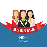 Three girls team illustration. Three business womans wearing a suit illustration Stock Photography