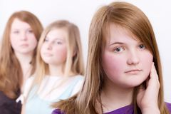 Three girls teenagers in crisis Stock Photos