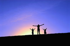 Three girls on top of the hill Royalty Free Stock Images