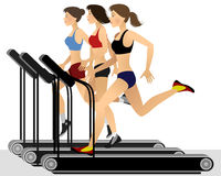 Three girls training Stock Images