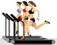 Three girls training Stock Images