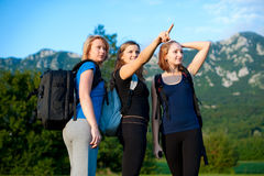 Three girls travelling Stock Photos