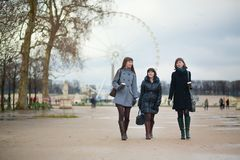 Three girls in the Tuileries garden Royalty Free Stock Photo