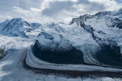 Three glaciers beneath matterhorn switzerland royalty free stock images
