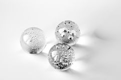Three glass balls with bubbles Royalty Free Stock Photo