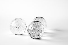 Three glass balls with bubbles Royalty Free Stock Image