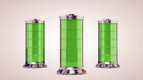 Three glass battery are charged Stock Photos