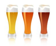 Three glass with beer Royalty Free Stock Photo