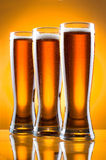 Three glass of beer Royalty Free Stock Photos