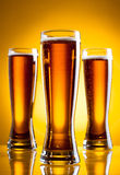 Three glass of beer Royalty Free Stock Images