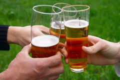 Three glass with beer in men hands. Over green grass field royalty free stock photo