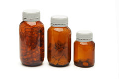 Three glass bottles of medicines Stock Photography