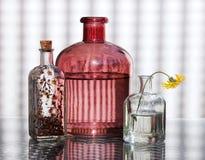 Three Glass Bottles and Wildflower Stock Photo