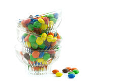 Three glass bowls piled filled with colorful candies Stock Images