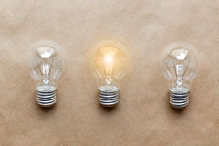 Three glass bulbs for lamps - idea concept Stock Images