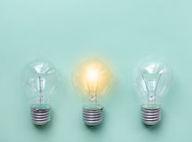 Three glass bulbs for lamps - idea concept Royalty Free Stock Images